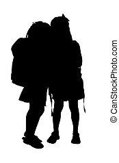 Silhouette Kids - Silhouette over white with clipping path....