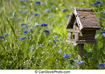 Birdhouse & Flowers - A birdhouse nestles among spring...