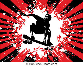 Grunge skater boy - Silhouette of a skater boy on grunge...