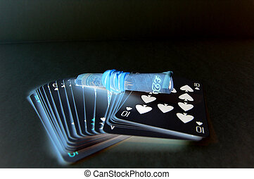 Gambling in the Dark - This is an image of a set of cards...