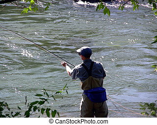 Casting About - Fly fisherman in a mountain stream