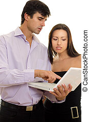 Information demonstration - A man showing a woman...