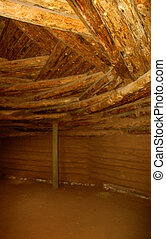 Hogan Interior - Interior of Navajo hogan, showing the...