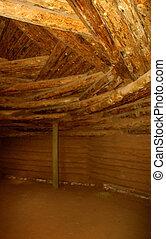 Hogan Interior - Interior of Navajo hogan, showing the...