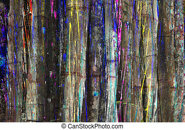 Paint spillage - Abstract background design from bamboo