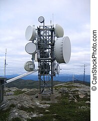 Communication tower on a mountain top