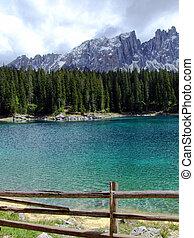 Carezza lake - Windy day at Carezza lake