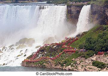 Walkway at Bridal Vail Falls, Niagara Falls - Walkway at the...