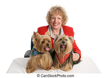 Yorkie Twins & Owner