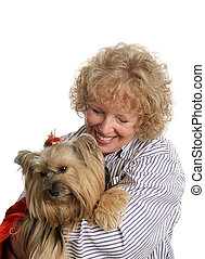 Loving Pet Owner - An affectionate pet owner giving a hug to...