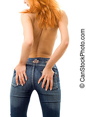 blue jeans - backshot of topless redhead in blue jeans