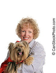 Little Red Riding Dog and Mom - An adorable yorkie in a red...