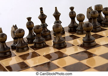 Chess atack - Chess black pieces makeing the first moves