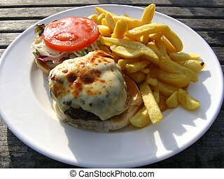 Cheese Burger and Chips Al Fresco - Steak Burger and Chips...