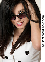 Woman Fashion Shades - Got the Look?. Beautiful young woman...