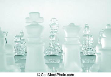 Chess Game Pieces - Chess game tinted teal
