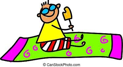 beach kid - little kid sat on a beach towel eating an ice...
