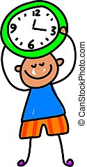 time kid - little boy learning to tell the time - toddler...