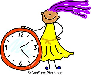 time kid - little girl learning to tell the time - toddler...
