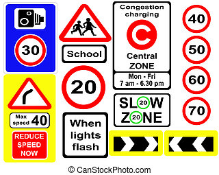 assorted speed symbols and signs