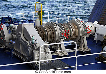 Ferry mooring lines - Reels used for mooring on a Baltic...