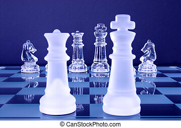 Chess King Queen Knights - Chess game in glass. The Queen,...