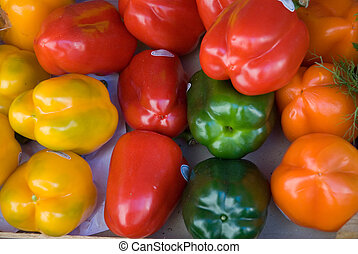 red green yellow - paprika: red, green, yellow