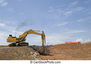 Earthmover at work in the field