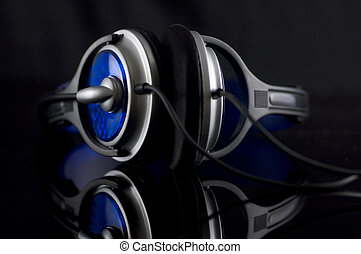 Headphone on black