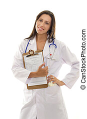 Attractive smiling doctor with health record document -...