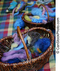 Wool in baskets 1 - Baskets full of colourful wool.