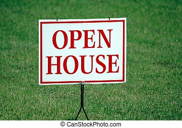 Open House Sign - Photographed open house sign in front of a...