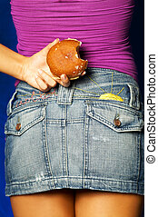 Donut Behind Back - Woman with Donut Behind Back
