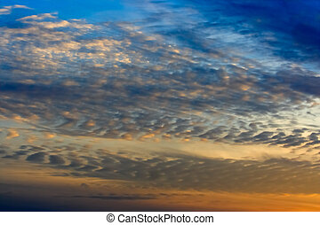 Sky and Altocumulus Clouds - An evening sky with altocumulus...
