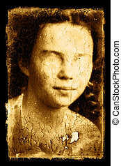 Creepy Photo - Old creepy photo on a peeling textured Grunge...