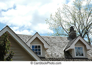 Cedar Shingle Rooftop - Cedar shingle roof with chimney and...