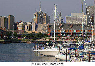 Harbor in the City - Photograph of Erie Basin Marina in...