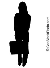 Silhouette With Clipping Path of Woman with Briefcase -...