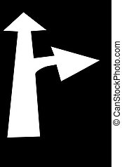 Choices - White arrow pointing ahead with a right turn arrow...