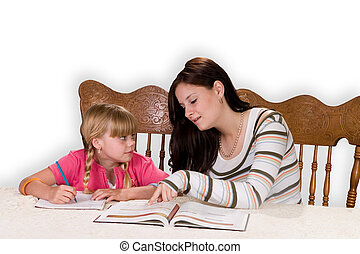 Tutoring - Big sister helping with homework