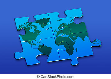 World puzzle - Contains Clipping Path Get rid of this blue...