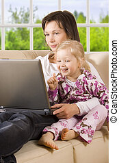 Mother with daughter - Contains Clipping Path. Get rid of...