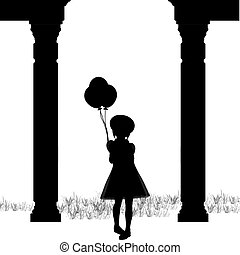 Silhouette Girl Balloons - Silhouette of a young girl...