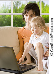 Mother and daughter - Contains Clipping Path. Get rid of...