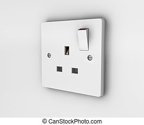Plug socket - 3D render of a plug socket