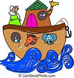 Noahs Ark - Noahs ark drawn in child like style - toddler...