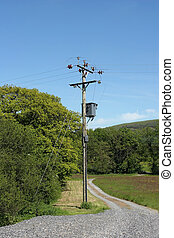 Transformer - Electricity transformer standing next to a...