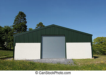 Agricultural Barn - Newly constructed barn of cream painted...