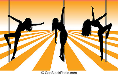 Pole dancers - Silhouettes of pole dancers