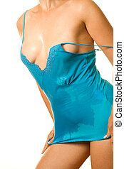 wet dress - classical erotic picture of lady in wet dress